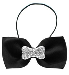 DOG BOW TIE: Crystal BONE Widget Pet Bow Tie in 13 Different Colors by MiragePetProducts