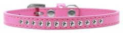"""PUPPY COLLAR: 3/8"""" Wide Puppy Collar 1 row of Clear Rhinestones & Clear Rhinestone Buckle in 5 Sizes & 7 Colors"""
