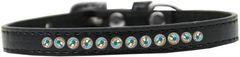 "PUPPY COLLAR: 3/8"" Wide Puppy Collar 1 row of AB Rhinestones & AB Rhinestone Buckle in 5 Sizes & 7 Colors"