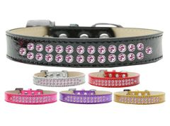 BLING DOG COLLARS: Dog Collar in Various Sizes & Colors - TWO ROWS LIGHT PINK CRYSTALS/ICE CREAM COLLAR