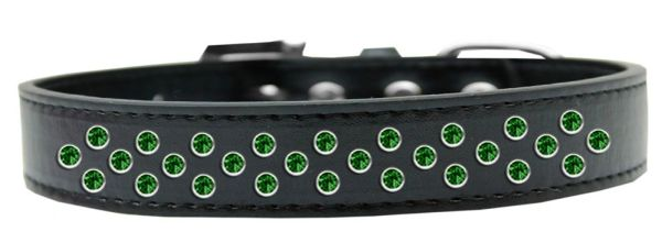 BLING DOG COLLARS: EMERALD GREEN CRYSTALS Dog Collar in Various Sizes & Colors by Mirage