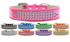 BLING DOG COLLARS: Stunning THREE ROWS CLEAR CRYSTALS ICE CREAM COLLAR Dog Collar in Various Sizes & Colors