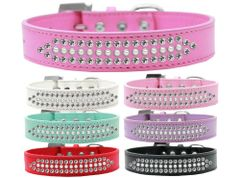 BLING DOG COLLARS: Stunning THREE ROWS RITZ PEARLS & CLEAR CRYSTALS Dog Collar in Various Sizes & Colors