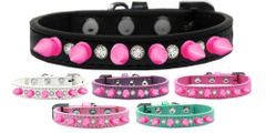 "Spike Dog Collars: Clear Crystals & Bright Pink Spikes on 1/2"" Wide Dog Collar in Various Sizes & Colors"