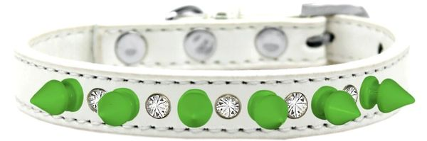 Spike Dog Collars: Unique Clear Crystals & Neon Green Spikes on Wide Dog Collar