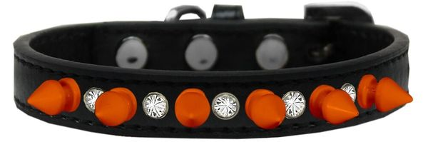 Spike Dog Collars: One Row Clear Crystals with Neon Orange Spikes Dog Collar in Several Sizes
