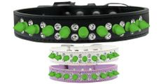 "Spike Dog Collars: Unique Double Row Clear Crystals with Row Neon Green Spikes on 3/4"" Wide Dog Collar in Various Sizes & Colors"