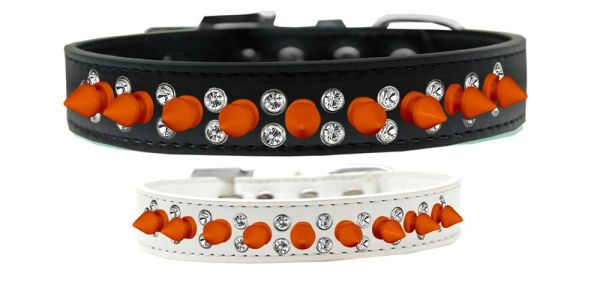 "Spike Dog Collars: Unique Double Row Clear Crystals with Row Neon Orange Spikes on 3/4"" Wide Dog Collar in Various Sizes & Colors"
