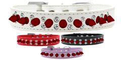 "Spike Dog Collars: Unique Double Row Crystals with Row Red Spikes on 3/4"" Wide Dog Collar in Various Sizes & Colors"