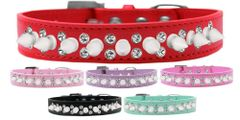 """Spike Dog Collars: Unique Double Row Crystals with Row White Spikes on 3/4"""" Wide Dog Collar in Various Sizes & Colors"""