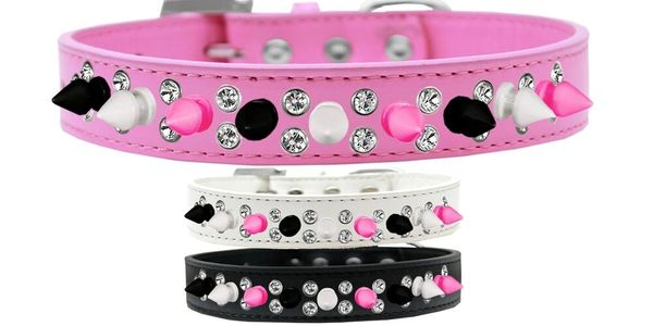 Spike Dog Collars: Double Row Crystals with Row Alternating Black, Bright Pink, White Spikes on Dog Collar