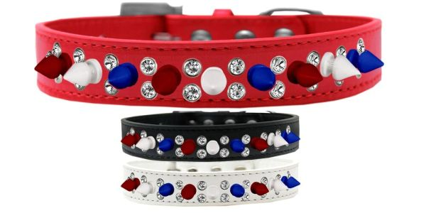 Spike Dog Collars: Double Row Crystals with Row Alternating Red, White, Blue Spikes on Dog Collar
