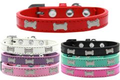 Widget Dog Collars: Cute SILVER BONE WIDGET Dog Collar in Various Sizes and Colors