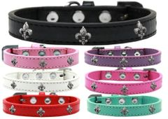 Widget Dog Collars: Cute SILVER FLEUR DE LIS WIDGET Dog Collar in Various Sizes and Colors