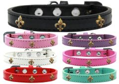 Widget Dog Collars: Cute BRONZE FLEUR DE LIS WIDGET Dog Collar in Various Sizes and Colors