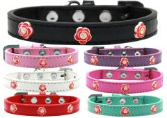 Widget Dog Collars: Cute RED ROSE WIDGET Dog Collar in Various Sizes and Colors