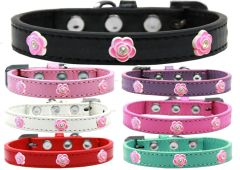 Widget Dog Collars: Cute BRIGHT PINK ROSE WIDGET Dog Collar in Various Sizes and Colors