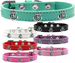 Widget Dog Collars: Cute SILVER ANCHORS WIDGET Dog Collar in Various Sizes and Colors