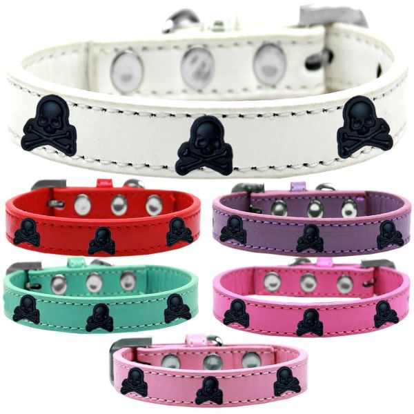 Widget Dog Collars: Cute SKULL WIDGET Dog Collar in Various Sizes and Colors