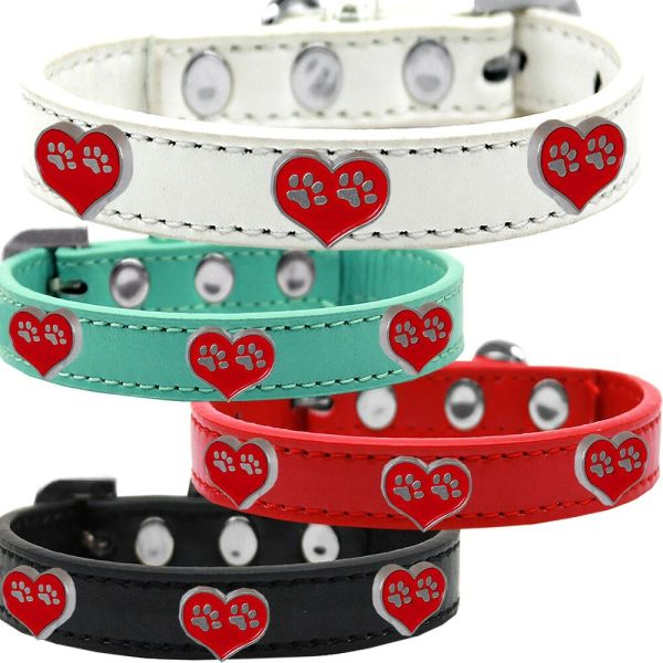 Widget Dog Collars: Cute PAW HEART WIDGET Dog Collar in Various Sizes and Colors