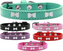 Widget Dog Collars: Cute WHITE BOW WIDGET Dog Collar in Various Sizes and Colors