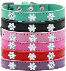 Widget Dog Collars: Cute SNOWFLAKES WIDGET Dog Collar in Various Sizes & Colors
