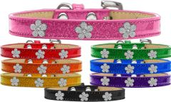 Widget Dog Collars: Ice Cream Dog Collar with Cute SILVER FLOWER Widgets in Different Colors & Sizes