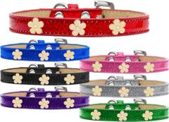 Widget Dog Collars: Ice Cream Dog Collar with Cute GOLD FLOWER Widgets in Various Colors & Sizes