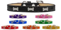Widget Dog Collars: Ice Cream Dog Collar with Cute SILVER BONE Widgets in Various Colors & Sizes