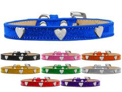 Widget Dog Collars: Ice Cream Dog Collar with Cute SILVER HEART Widgets in Various Colors & Sizes