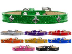 Widget Dog Collars: Ice Cream Dog Collar with SILVER FLEUR DE LIS Widgets in Various Colors and Sizes