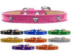 Widget Dog Collars: Ice Cream Dog Collar with SILVER STAR Widgets in Various Colors and Sizes