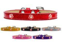 Widget Dog Collars: Ice Cream Dog Collar with RED ROSE Widgets in Various Colors and Sizes