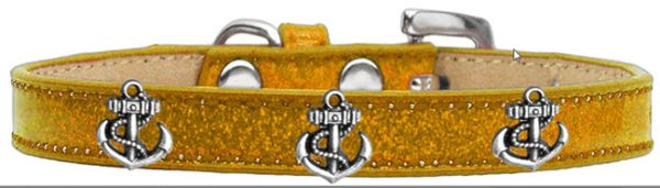 Widget Dog Collars: Ice Cream Dog Collar with SILVER ANCHOR Widgets in Various Colors & Sizes