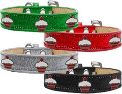 Widget Dog Collars: Ice Cream Dog Collar with RED CUPCAKES Widgets in Various Colors & Sizes