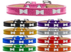Dog Collars: Ice Cream Dog Collar with Cute WHITE BOW Widgets in Various Colors & Sizes