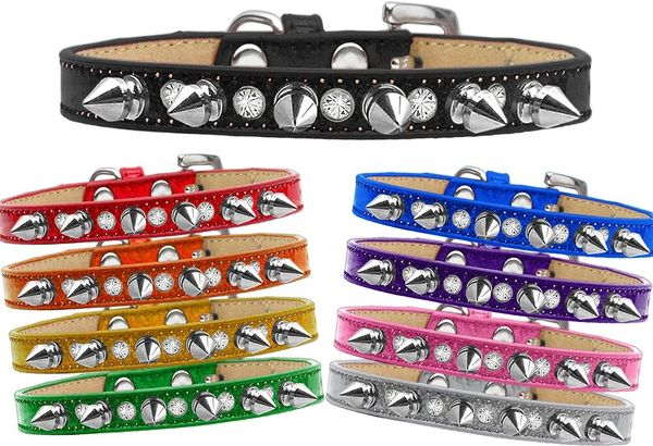 Spike Dog Collars: Alternating CLEAR CRYSTAL & SILVER SPIKES on Ice Cream Dog Collar in Various Sizes & Colors