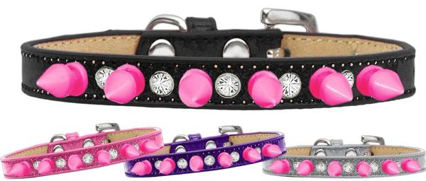 Spike Dog Collars: Alternating CLEAR CRYSTAL & PINK SPIKES on Ice Cream Dog Collar in Various Sizes & Colors