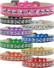 Spike Dog Collars: Double Row Crystals & Row Silver Spikes on Ice Cream Dog Collar in Various Sizes & Colors