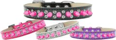Spike Dog Collars: DOUBLE ROW CRYSTALS & ROW BRIGHT PINK SPIKES on ICE CREAM Dog Collar in Various Sizes & Colors