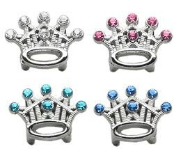 "Pet Charms: 3/8"" (10mm) CROWN CRYSTAL SLIDING CHARM to Slide onto Pet Collar"