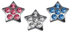 "Pet Charms: 3/8"" (10mm) STAR CRYSTAL SLIDING CHARM to Slide onto Pet Collar"
