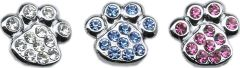 "Pet Charms: 3/8"" (10mm) PAW CRYSTAL SLIDING CHARM to Slide onto Pet Collar"