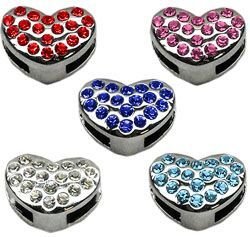 "Pet Charms: 3/8"" (10mm) PUFFY HEART CRYSTAL SLIDING CHARM to Slide onto Pet Collar"