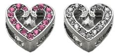 "Pet Charms: 3/8"" (10mm) SCRIPTY HEART CRYSTAL SLIDING CHARM to Slide onto Pet Collar"