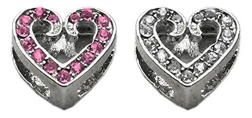 "Pet Charms: 3/8"" (10mm) SCRIPTY HEART CRYSTAL SLIDING CHARM to Slide onto Pet Collar"