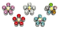 "Pet Charms: 3/8"" (10mm) FLOWER CRYSTAL SLIDING CHARM to Slide onto Pet Collar"