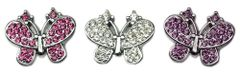 "Pet Charms: 3/8"" (10mm) BUTTERFLY CRYSTAL SLIDING CHARM to Slide onto Pet Collar"