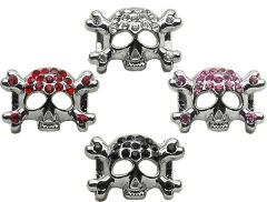 "Pet Charms: 3/8"" (10mm) SKULL CRYSTAL SLIDING CHARM to Slide onto Pet Collar"