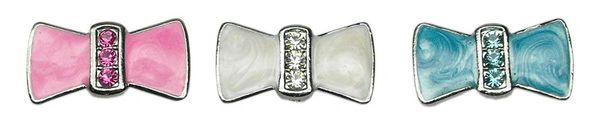 "Pet Charms: 3/8"" (10mm) ENAMEL BOW CRYSTAL SLIDING CHARM to Slide onto Pet Collar in 3 Colors"